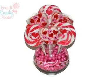 Small Red and Pink Heart Valentine Lollipop Centerpiece, Arrangement, Candy, Lollipop, Valentines day, Valentines, Heart, Edible, Gift