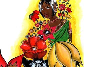 Hindustani Beauty, Comic Book Inspired Art Print, Comic Style Art Print, Graphic Novel Art Print