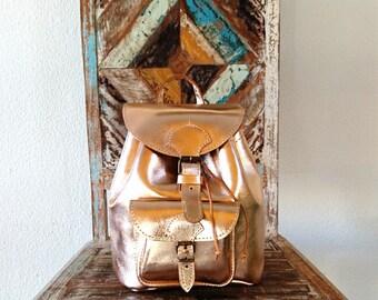 Leather Backpack Purse, Rose Gold Leather Bag, Metallic Rucksack, Women Satchel