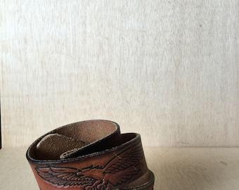 1970's Hand Tooled Leather Belt Brown Eagle Floral Motif Western Boho Style