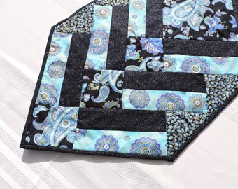 Blues & Black Paisley Quilted Runner