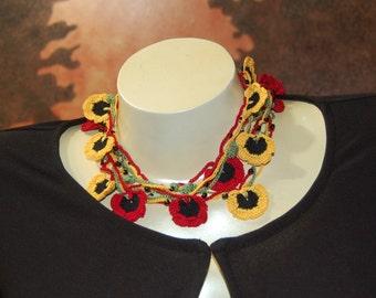 Rasta Crochet Flower Lariat