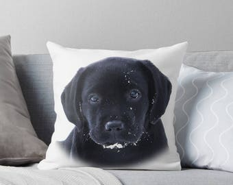 Black Lab Pillow 11SP - Labrador Pillow - Throw Pillow - Black Lab Decor - Black Lab Gifts - Outdoor Pillow - Dog Pillow - Black Lab Art