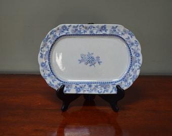 Blue Transferware Platter 1880 England Antique Berne Brownfield China Platter Vintage Blue Platter Brownfield and Sons I Ship Worldwide