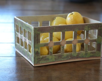 Ceramic fruit basket, handmade