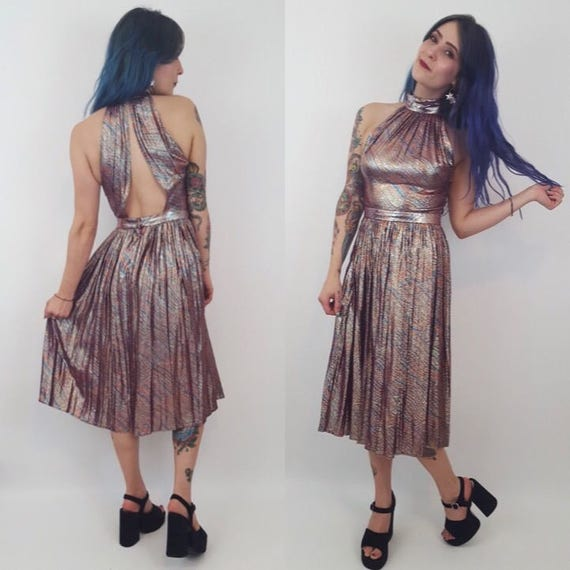 1970s Vintage Pink Rainbow Party Dress - Small Vintage Handmade Pleated Midi Dress - Women's Cocktail Glitter Sparkle Dress - One of a Kind