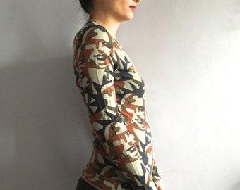 Jean Paul Gaultier face print camouflage tshirt 90s Gaultier camo print t-shirt JPG Jean's knit top faces print tee shirt