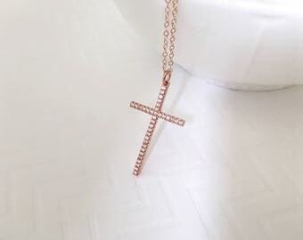 Large Cross Necklace, Rose Gold CZ Cross Necklace, Silver CZ Cross Necklace, Gold CZ Long Cross Necklace, Wedding Jewelry