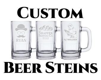 Custom Beer Stein Mug 16oz Glass Beer Mug- Customized Engraving