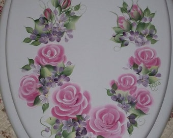 NEW* Elongated wood TOILET SEAT, Hand Painted, Pink Cottage Roses, Floral, Bathroom decor, Victorian, French Country, Powder Room