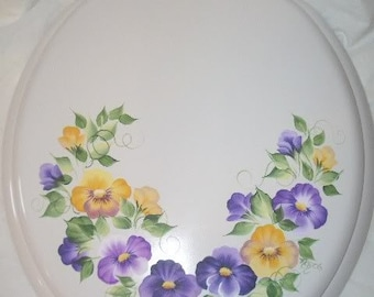 NEW* Round wood TOILET SEAT, Hand Painted, Yellow & Purple Pansy, Bathroom decor, Garden Pansies, French Country, Powder Room