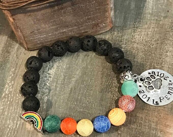 Rainbow bridge yoga Chakra style pet loss Memorial bracelet name charm