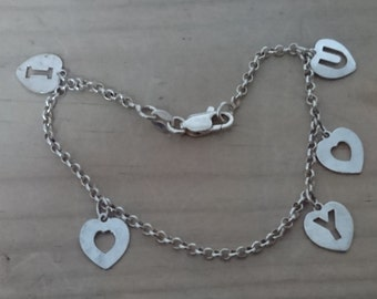 Vintage sterling silver I love you charm bracelet