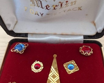 Vintage Merlin 7day tie -tack boxed set