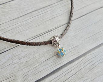 Antique brown braided leather choker necklace with aquamarine blue Swarovski crystal ball charm pendant ladies jewelery handmade jewelry