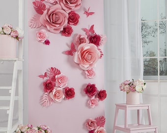 Paper Flowers - Paper flowers Backdrop - Wedding Backdrop - Paper Flower Wall - Flower Wall