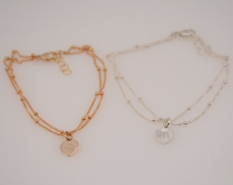 Double wrap bracelet, Delicate initial bracelet. Gold filled bracelet, Silver bracelet