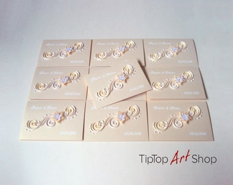 Luxury Quilled Wedding Invitations - Homemade Custom Invitations; Made to Order by TipTopArtShop