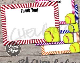 Softball, Thank You notes, 5x7, birthday, Instant Download