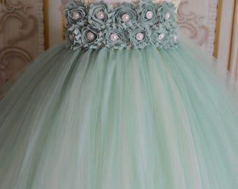 SALE!!  many colors available- sage, Greyed Jade, shabby chic flower girl tutu dress