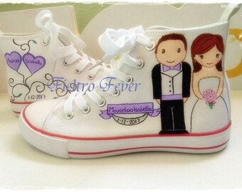 Wedding sneakers, wedding shoes, customized sneakers, customized shoes, boyfriends shoes, sneakers, wedding, Dating,