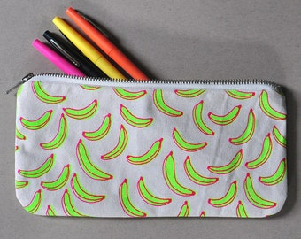 Large Zipper Pouch - Neon Bananas Screen Printed Handmade Bag Purse Limited Edition
