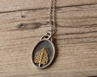 Tree Portrait Pendant Necklace Sterling Silver Fine Silver 22k Gold Artisan 925
