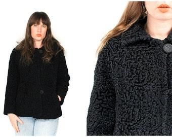 Vintage Persian Lamb Jacket - 50s/60s Black Curley Persian Lamb  Short Coat - 1950s 1960s Curley Persian Lamb Fur Short Jacket