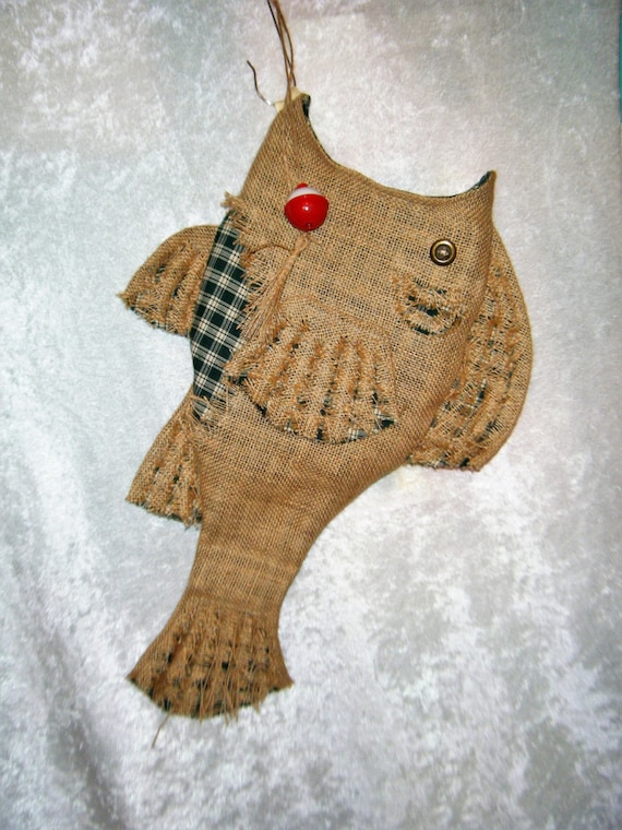 Items similar to christmas stocking burlap fish stocking for Fish christmas stocking