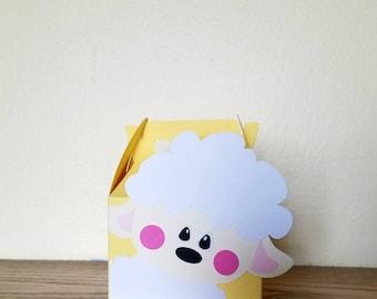 Mini Lamb Gable Box, Baby Shower Favor Box, Gift Box for Baby Shower