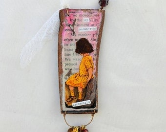 my brown eyed earth child mini mixed media collage on wood