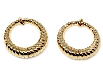 14k Yellow Gold Small textured clip-on hoops
