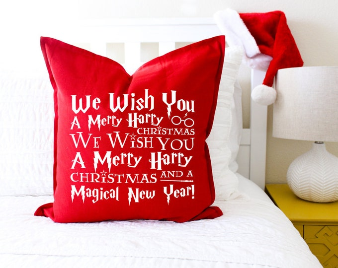 "Christmas Decor ""We Wish You A Merry Harry Christmas"" Pillow Cover; Christmas Gift, Book Lovers Gift, Gift for Her, Magic, Throw Pillow"