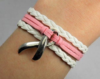 Breast Cancer Awareness Ribbon: Light Pink/White -- Adjustable Braided Leather Suede Layered Bracelet