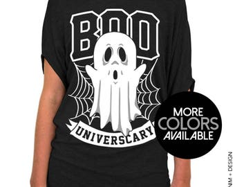 Boo Universcary - Slouchy Tee - Halloween Ghost and Spider Webs Shirt - More Colors Available - Black, Gray and White Tees
