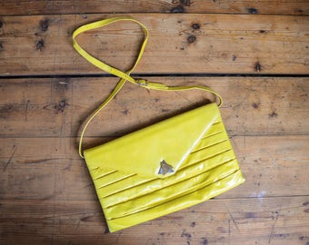 80s Lemon Yellow Leather Clutch, Bold Graphic New Wave Purse, Summer Bright Handbag