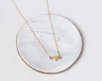 Gold Heart Choker Necklace - Heart Choker Necklace - Simple Dainty Delicate Gold Heart Necklace - Minimal Gold Choker Necklace