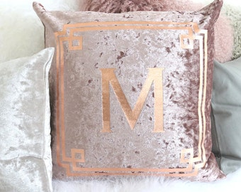 Rustic Country Farmhouse Home Decor, Pillow Cover, Decorative Personalized Accent Throw Pillows - Crushed Velvet Rose Gold Monogram