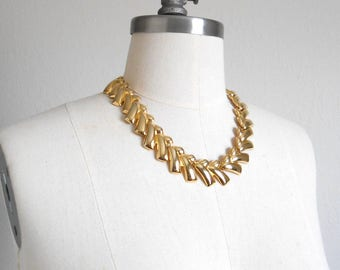80s vintage necklace - gold chain link necklace - 80s Come and Get It necklace