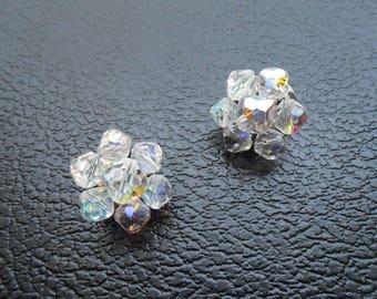 50s vintage earrings - faceted bead aurora borealis earrings clip ons - 50s Aurora earrings