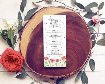 Poppies Wedding Menus - Red and Pink Floral Wedding Menus - Printable or Printed - Watercolor Menus for a Garden Wedding