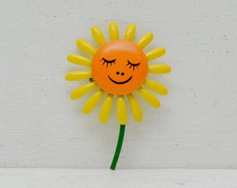 Cute Enamel Metal Yellow Daisy Flower Brooch Pin with Orange Smiley Face; FREE SHIPPING U.S.A.