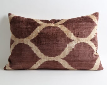 Pillow Cover Brown velvet ikat pillow cover accent pillows lumbar pillow couch pillows modern and minimalist home decor bedding contemporary