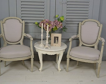 Pair of Shabby Chic French Antique Armchairs - FREE UK DELIVERY