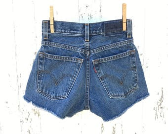 High Waist LEVIS Shorts 24 Waist Cut Off Denim Shorts