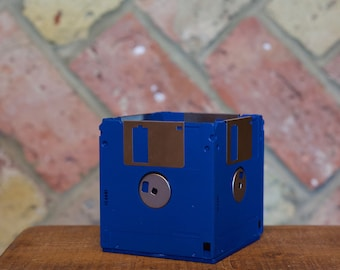 Recycled Floppy Disk Desk Tidy (Blue)