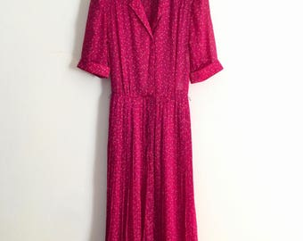 SCHERRER!!! Stylish 1970s 'Jean Louis Scherrer Boutique' printed silk fuchsia printed day dress with pleated skirt / Made in France