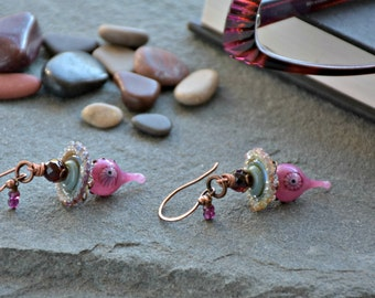 wire wrapped glass art statement pinky promise earrings