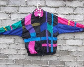Vintage Jacket Windbreaker 1990s 80s Large Fresh Prince Color Block Patchwork Golden Girls Cosby Hipster Surfer Swag Skater Dandy Street