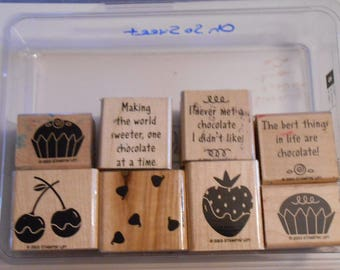 Stampin' Up Oh So Sweet Set lot of 8 retired 2003 Chocolate Desserts Candy